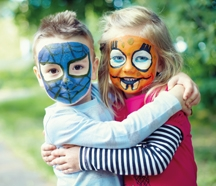 children who have their faces painted