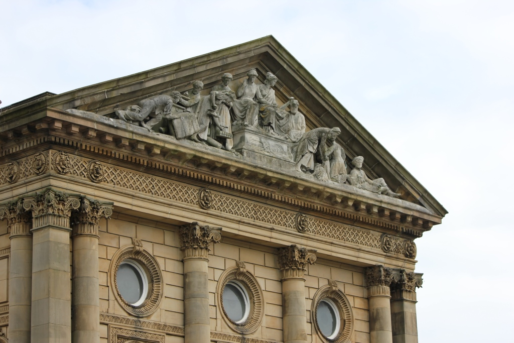 Todmorden Town Hall sculptures and windows