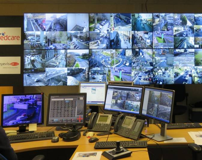 CCTV screens compressed