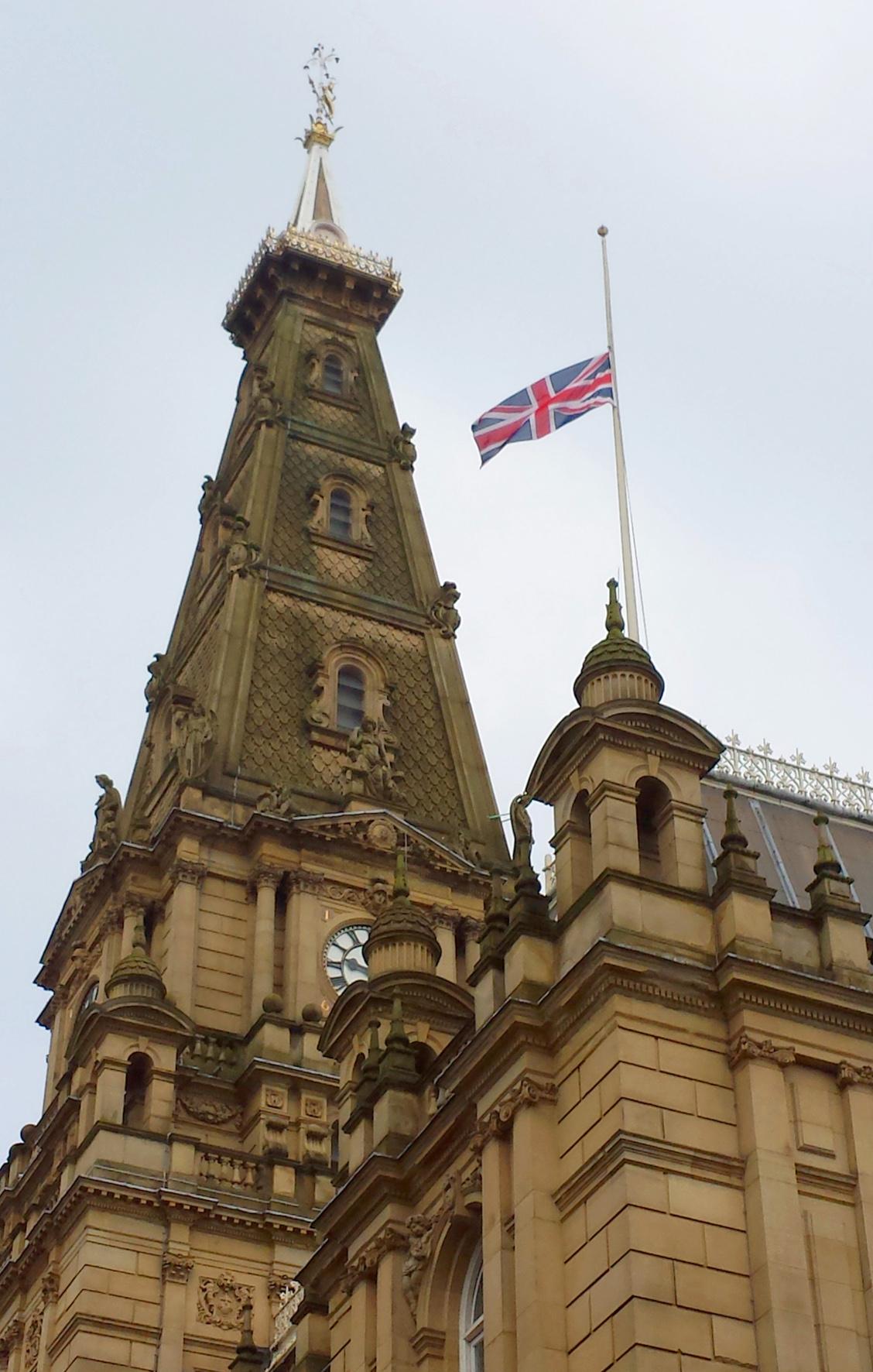 Town Hall, Flag half mast 2
