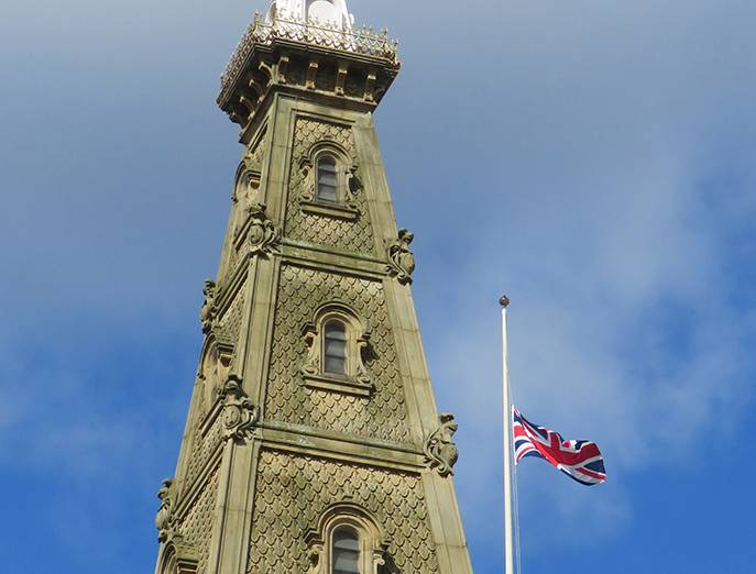Town Hall Flag half mast LR