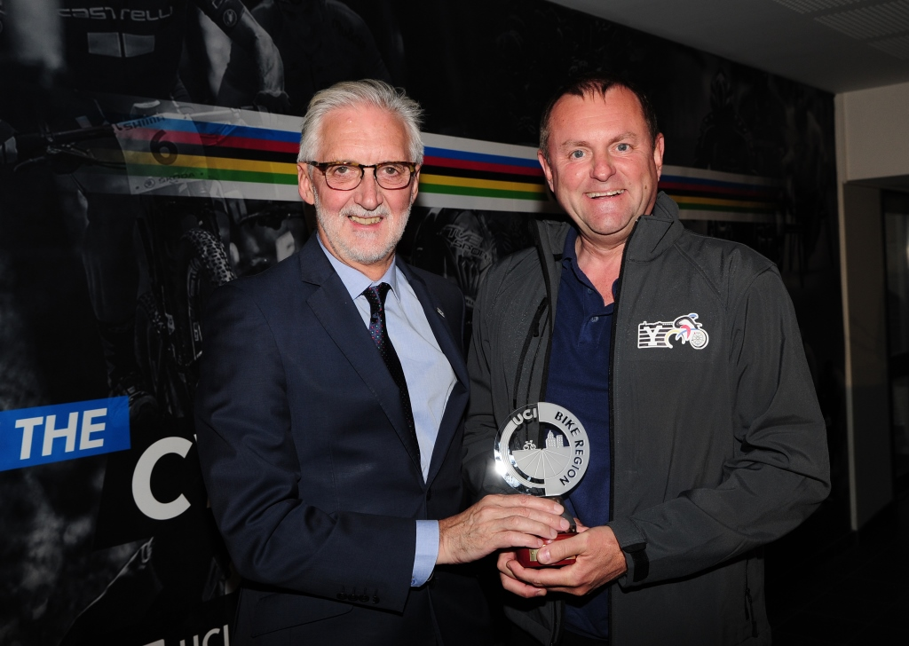 Picture by Simon Wilkinson/SWpix.com - 19/09/2017 - Cycling UCI 2017 Road World Championships Bergen Norway -  UCI World Championships and Bike City Label Awards - Radisson Blu Royal Hotel, Bergen - UCI  President Brian Cookson and award winners Sir Gary Verity