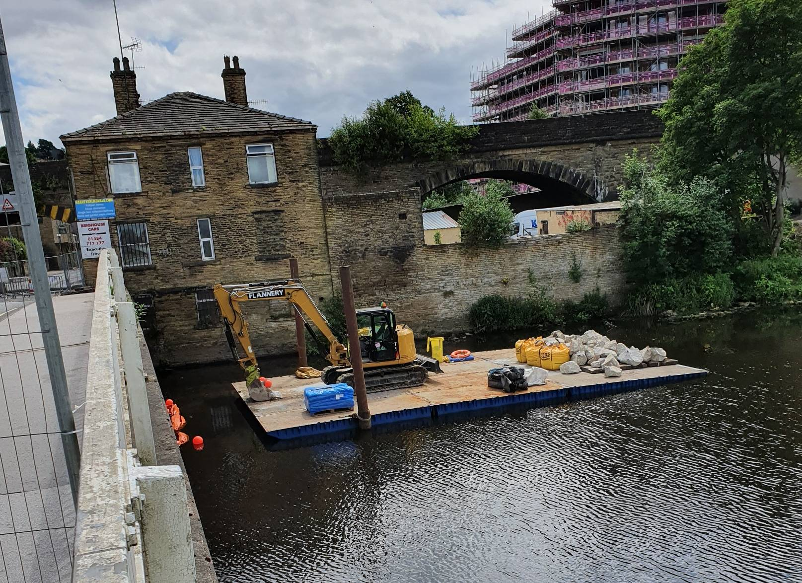 Work taking place on Rastrick Bridge