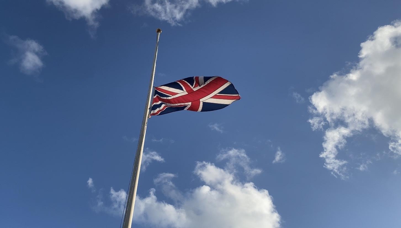 Union flag at half mast