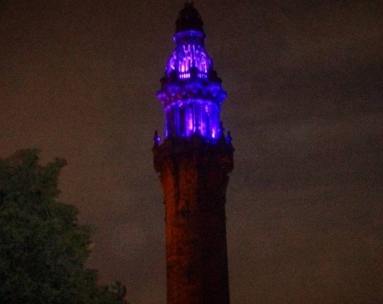 Wainhouse Tower lit up purple